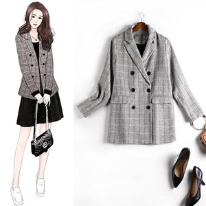 Women's Jackets Plaid Coat Gray Plus Size Spring Model Suit Loose Slimming Casual Vacation Elegant