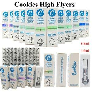 Cookies Pilotes Cookies High Flyers Vape Cartouches de Vape 0.8ml 1ML Verre vide Vêche Vape Pen 510 Chariots de fil Emballage avec autocollants d'hologramme