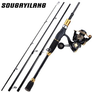 Sougayilang girando back reel combo 1.8m 2,1 m 4 seção pesca de carbono e 12 + 1bb kit