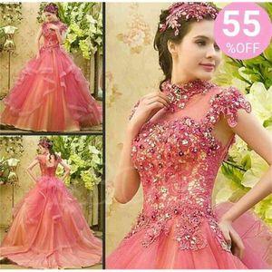 2021 скромные каскадные платья QuinceAnera High шеи каскадные оборками индивидуальные аппликации из бисера прозрачные длинные розовые шариковые платья Pageant Party платье