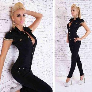 Autumn Fashion Women Denim Long Jumpsuit Sexy Deep V Neck Jean Jumpsuits Buttons Chain Black Overalls Lady Rompers KH819734 210329
