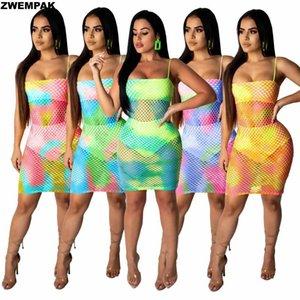 Bayan Kravat Boyalı Baskılı Örgü Fishnet Bikini Kapak See Up Mayo Plaj Şeffaf Kesip Elbise Kadın Yüzme Suits