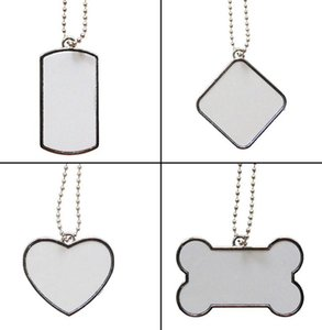 Boş Beyaz Süblimasyon Köpek Etiketi Paslanmaz Çelik PET KIMLIK Kart Yavru Kedi Kimlik Etiketi Metal Pet Kolye ile Zincir WWA286
