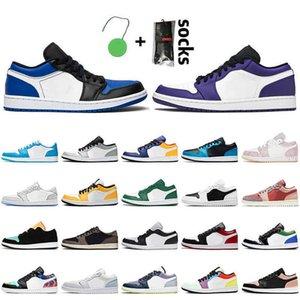 Jumpman 1 1s Low Women Mens Basketball Shoes Retro Court Purple Royal Toe Travis Light Smoke Grey Paris Paint Drip Sports Trainers Sneakers
