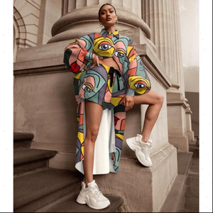 2 Pieces Set African Sets Womens Pants Printing Button Long Top And Shorts Casual Two Piece Outfits Africa Clothing