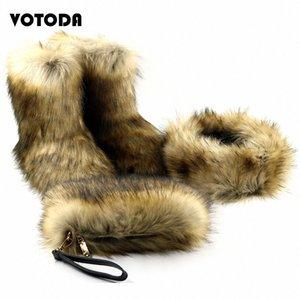 Зимняя теплая из искусственных меховых ботинок ботинок моды пушистая сумка меховой повязки набор женщин повседневные пушистые снежные сапоги кошельки сумки матча наборы горячего G3LB #