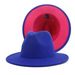Yeni Klasik İki Tonlu Keçe Fedoras Şapka Erkekler Kadınlar Için Yapay Yün Karışımı Caz Kap Geniş Brim Kilisesi Derby Düz Şapka 10 adet / grup