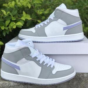 С коробкой Jumpman 1 1S MID WMNS Баскетбольные туфли 2021 белый серый синий бегун моды дизайнер кроссовки полный размер 36-46