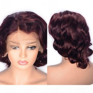 Burgundy Human Hair Lace Wigs 99J Wine Red Color Hair Lace Front Wigs Pre Plucked 12 inch Brazilian Wavy Hair Wig