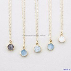 Tiny Round Druzy Pendant Necklace Gold Edged Druzy s Genuine Simple Gemstone Necklace