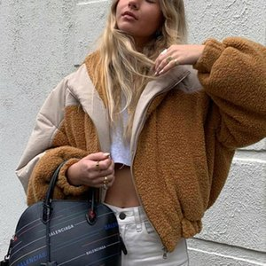 Faux Fur Jacket Coats Patchwork Teddy Bubble Parkas Women Winter Thick Warm High Quality Outwear Trim Hood Women's Down