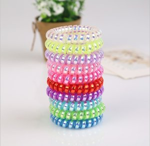 Bright Silver Phone Coil Plastic Spring Hair Ring Telephone Line Hairs Circle