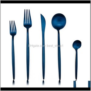 20Pcs Stylish Matte Blue Stainless Steel Black Cutlery Knives Dessert Forks Spoon Dinnerware Silverware 9W80R Sets Rue8C
