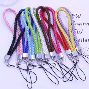Cell Phone Strap Neck Lanyard Braided Nylon and PU Hang Rope for Mobile Badge Camera Mp3 USB ID Cards Mixed Color supported