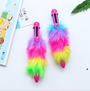 Bolígrafo pluma linda imitación peluche de peluche Iridescence Pen Bullet Kawaii Ballpenstationery Fashion School Office Gifts OWC6942