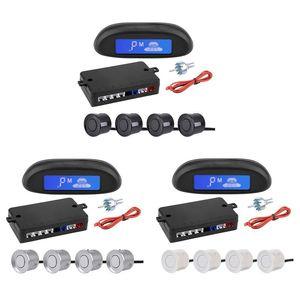 Car Parking Sensor Set Parktronic LED LCD Display Buzzer Backup Reversing Radar Monitor Detector System W 4 Sensors Rear View Cameras&