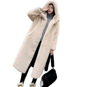 Winter Jacket Women High Quality Faux Rabbit Fur Coat Luxury Long Fur Jacket OverCoat Thick Warm Plus Size Female Plush Coats 211019
