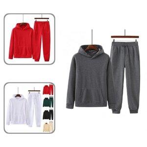 Men's Tracksuits Cold Resistant Trendy Unisex Long Sleeve Sweatshirt Elastic Waist Pants Set Warm Hoodie Drawstring For Office