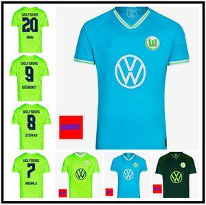 2021 2022 VFL Wolfsburg Soccer Jersey 21 22 # 33 Ginczek Weghors Unific Unific Mens Mehmedi MBabu Brooks Steffen Футбольная футболка
