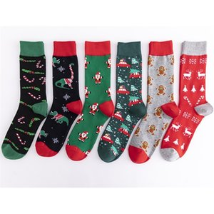 New style colorful fashionable medium high cotton large size elements leisure trend men's socks