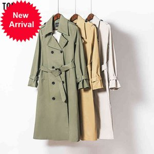 Toppies 2021 Spring Long Women Double Breasted Slim Trench Coat Female Outwear Fashion Windbreaker