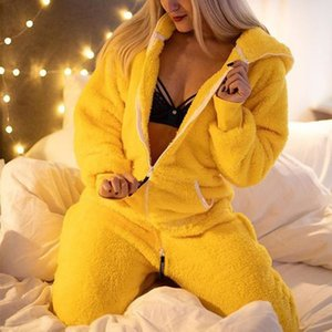 Jump suits for women flanela zper manga longa macaco comforable homewear pijamas slidos senhoras com capuz solto macaces outfits