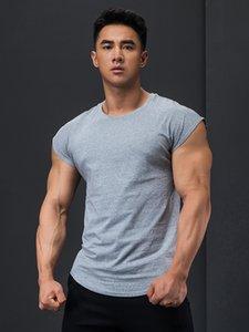 T-shirt de séchage rapide en coton T-shirt Hommes Elastic Slim Fit Formateur musculaire respirant Fitness Formateur Court Sleeve Top Summer