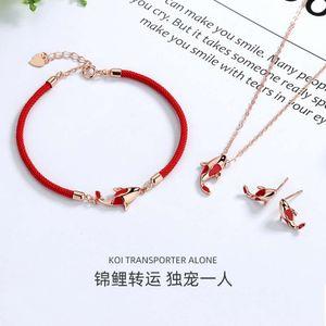 pendants S925 sterling transfer Koi Necklace female niche design fashion bracelet earrings three piece silver jewelry set