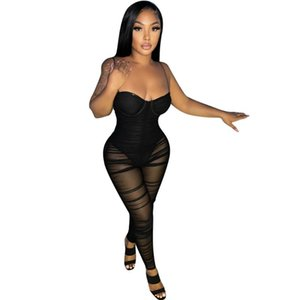 섹시한 Strapless 여성 Jumpsuit Sheer Mesh Party Night Clubwear Fitness Long Rompers Womens Women 's Jumpsuits