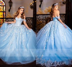 Bahama Blue Quinceanera Dresses Off Shoulder Ivory Lace Beaded Lace-up Ball Gown Sweety Sixteens Princess Prom Pageant Formal Gowns Sweet 15