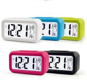 Masa Saati Akıllı Sensör Nightlight Dijital Alarm Ile Sıcaklık Termometre Sessiz Masa Başucu Uyandırma Snooze DB596