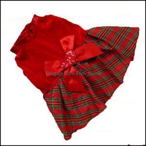 Dog Supplies Home & Gardendog Apparel Cat Dresses Christmas Princess Party Red Sequins Dress Clothes Pet Plaid Bow 1 Drop Delivery 2021 Cv5G