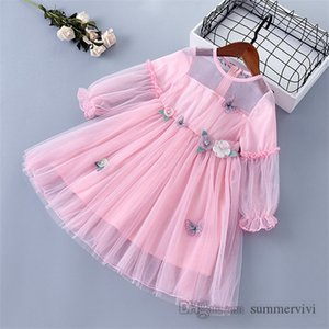 Girls gauze butterfly embroidery dresses kids stereo flowers lace tulle dress children falbala sleeve princess clothing Q2056
