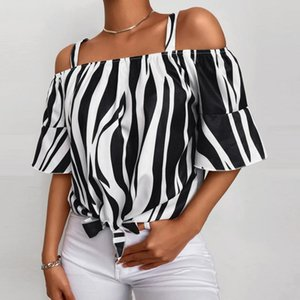Women's Blouses & Shirts Women Off Shoulder Blouse Striped Printed Shirt Bow Tie Flare Sleeve Tops Tunic Office Clothing Summer