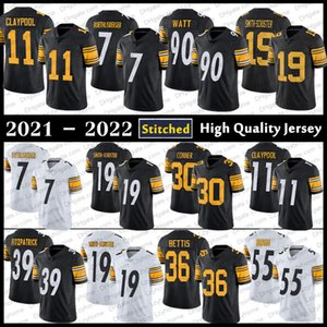 Stitched 11 Chase Claypool 90 TJ Watt Football Jerseys 7 Ben Roethlisberger 39 Minkah Fitzpatrick 43 Troy Polamalu Pit