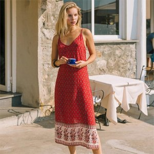 dresses Hippie Backless Split Floral Printed Summer Strap Midi Sleeveless Vintage Cami Vestidos Beach Boho Casual Women Slip 0D96