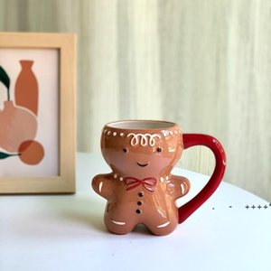 Mugs Gingerbread Man Mug Cartoon Cute Kawaii Christmas 3D Ceramic Cup Milk Coffee Water 300ml RRF11029