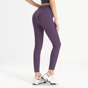 Leggings Mujeres Yoga Pantalones Fitness Ejercicio Mat Matte Nude Lado Pocket Peach Hip Mights Sheer Joggers Sexy Black