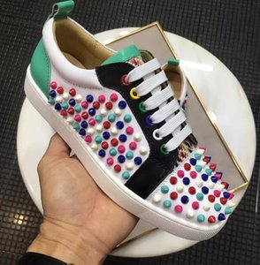 Elegant Design 2021 Men,Women Junior Spikes Red Bottom Sneakers Low Top Casual Walking Cheap Sale Red Sole Trainers Party Dress Wedding