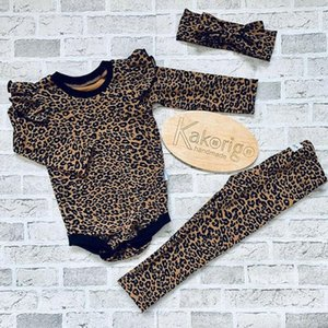 Clothing Sets Baby Spring Autumn 3pcs Born Infant Girl Boy Leopard Clothes Ruffle Romper Jumpsuit Pants Headband Outfits