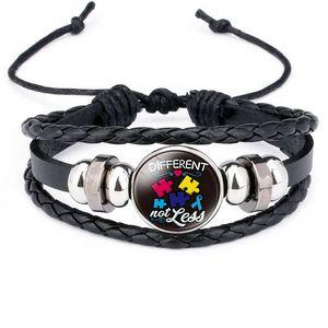 Kids Autism Glass Cabochon Charm Bracelet Weave adjustable Multilayer Wrap bracelets girls fashion jewelry will and sandy