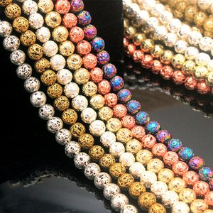 8mm Silver Gold Metal Color Plating Loose Lava stone Beads Jewelry Making Accessories for bracelet