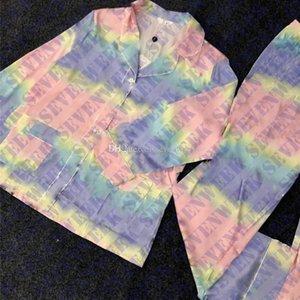 다채로운 편지 여성 잠옷 잠자는 가정용 홈웨어 긴 소매 실크 새틴 여자 파자마 섹시한 숙 녀 집 의류 두 조각 세트