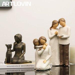 Artlovin sculpté silhouette peinte à la main ensemble / amitié / fidèle figurine résine sculpture de chien Saint-Valentin cadeau cadeau de maman 210318