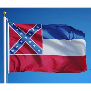 Mississippi State Flag MS State Flag 3x5ft Banner 100D 150x90cm Polyester Brass Oremets Custom Flag HWF5779
