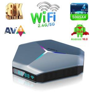 A95X F4 Amlogic S905X4 Smart Android 10 TV Box 4GB RAM 32GB 64GB 128GB ROM 2.4G / 5 ГГц WiFi RGB Light Set Topbox