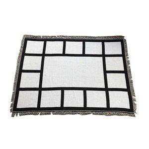 المنسوجات المنزلية 9 بينيلز البطانيات التسامي بطانية فارغة مع شرابات أسود أبيض نقل الحرارة الطباعة شال التفاف أريكة نائمة رمي