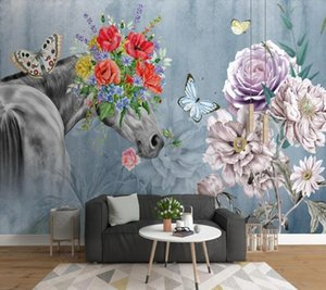 Wallpapers Papel De Parede Modern Art Horses Flowers 3d Wallpaper Mural,living Room Tv Wall Bedroom Papers Home Decor