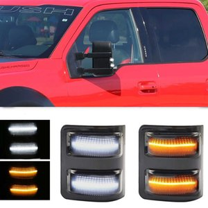 1 Pair rear mirror light, suitable for 2013-2014 Ford F-150 With White Running Lights and Yellow Steering Indicators