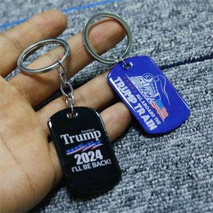 NEW2024 Trump print key Ring campaign flag pendant trump stainless steel Keychain I'LL BE BACK Keychain U.S. presidential campaign EWA5